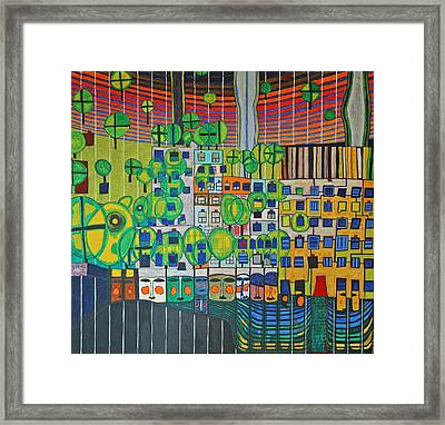 Hundertwasser The Three Skins In 3d By J.j.b. Framed Print by Jesse Jackson Brown