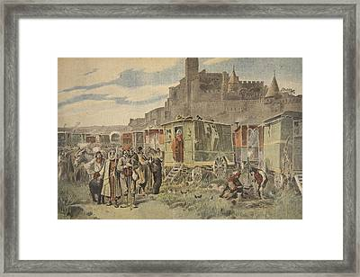 Hungarian Gypsies Outside Carcassonne Framed Print