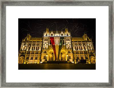 Hungarian Parliament At Night Framed Print