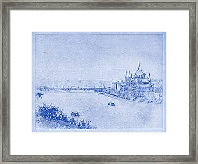 Hungarian Parliament Building In Budapest Blueprint Framed Print by Kaleidoscopik Photography