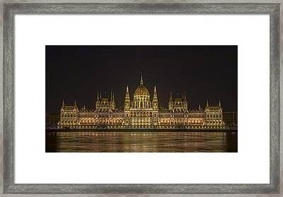 Hungarian Parliament Building Night Framed Print by Joan Carroll
