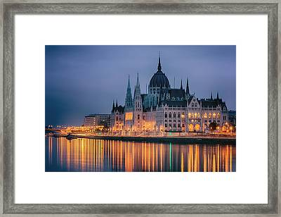 Hungarian Parliament Dawn Framed Print by Joan Carroll