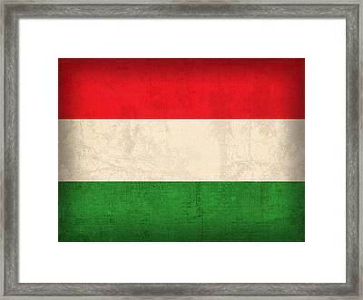 Hungary Flag Vintage Distressed Finish Framed Print by Design Turnpike