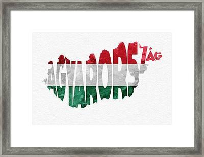 Hungary Typographic Map Flag Framed Print by Ayse Deniz