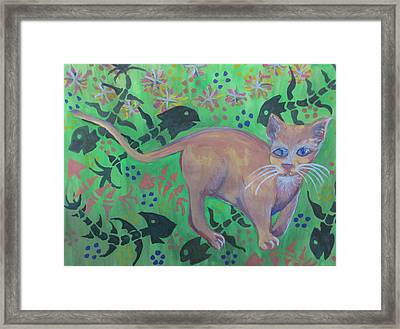Hungry Cat Framed Print by Cherie Sexsmith