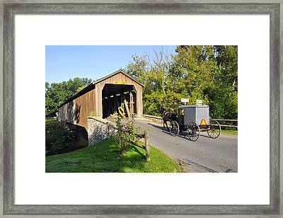 Framed Print featuring the photograph Hunseckers Mill Covered Bridge by Dan Myers