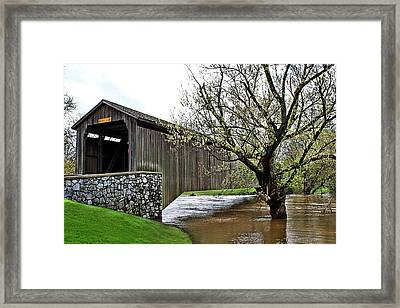Hunsecker's Mill Covered Bridge Framed Print by DJ Florek
