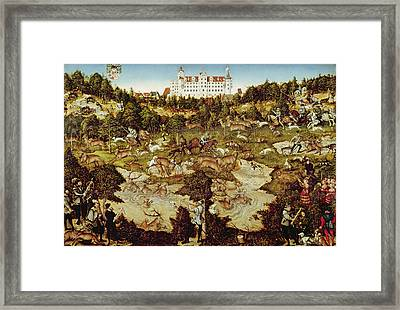 Hunt In Honour Of The Emperor Charles V Near Hartenfels Castle, Torgau, 1544 Oil On Panel See Framed Print by Lucas, the Elder Cranach
