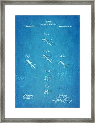 Hunt Push Pin Patent Art 1914 Blueprint Framed Print by Ian Monk