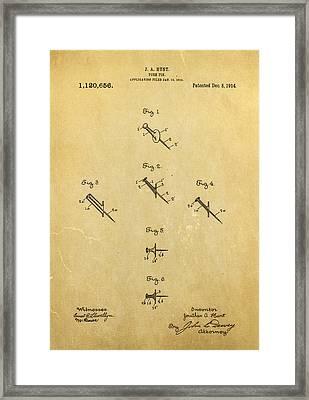 Hunt Push Pin Patent Art 1914 Framed Print by Ian Monk