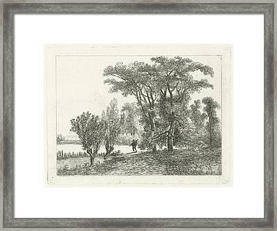 Hunter At A Forest Edge, Hermanus Jan Hendrik Van Framed Print