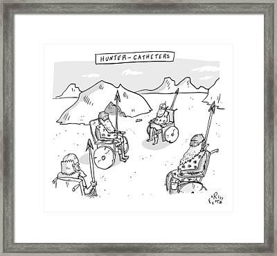 Hunter-catheters -- Stone-age Warriors Sit Framed Print