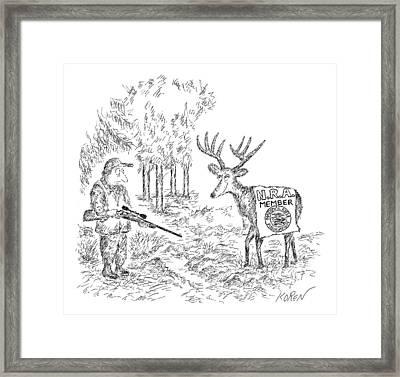 Hunter Holding A Rifle Looks Peevishly At A Deer Framed Print