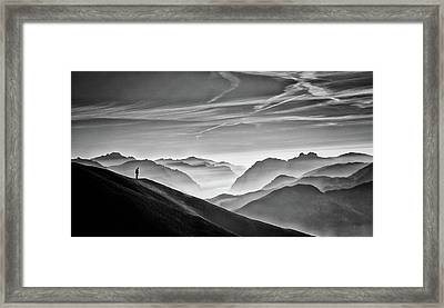Hunter In The Fog Bw Framed Print by Vito Guarino