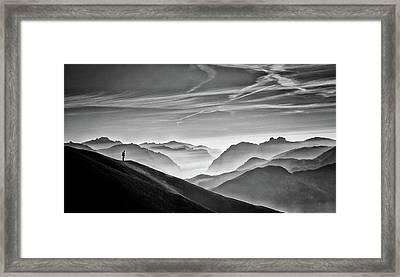 Hunter In The Fog Bw Framed Print
