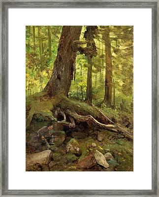 Hunter In The White Mountains Near Glen House Detail Framed Print by Albert Bierstadt