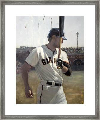 Hunter Pence On Deck Framed Print by Darren Kerr