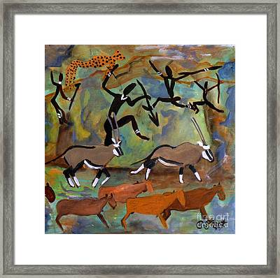 Hunters And Gemsbok Rock Art Framed Print by Caroline Street
