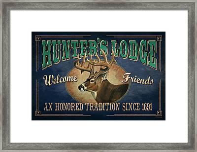 Hunters Lodge Deer Framed Print by JQ Licensing