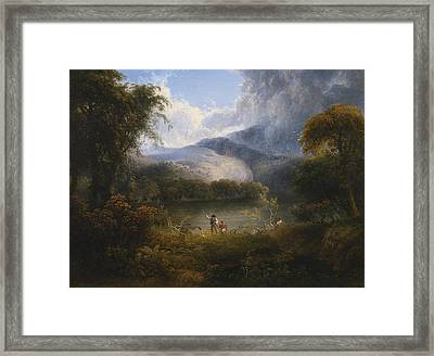 Hunters With A Dog In A Landscape Framed Print