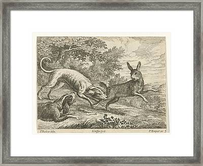 Hunting A Hare, Jan Griffier I, Pierce Tempest Framed Print by Jan Griffier (i) And Pierce Tempest