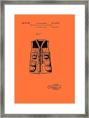 Hunting And Fishing Vest Patent Framed Print by Mountain Dreams