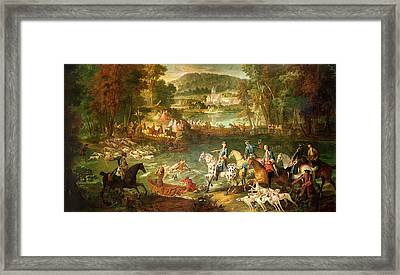 Hunting At The Saint-jean Pond In The Forest Of Compiegne, Before 1734 Oil On Canvas Framed Print