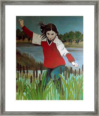 Framed Print featuring the painting Hunting Frogs by Irena Mohr