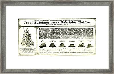Hunting Hats Austria 1891 Framed Print by Austrian School