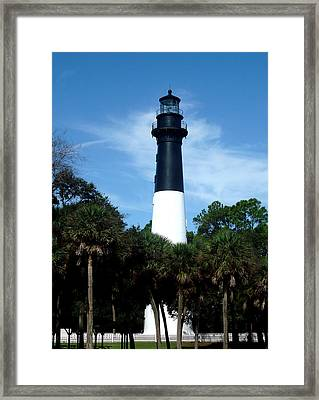 Framed Print featuring the photograph Hunting Island Lighthouse by Ellen Tully