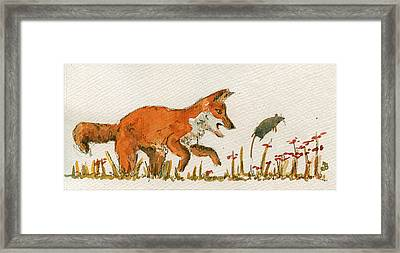 Hunting Red Baby Fox Framed Print