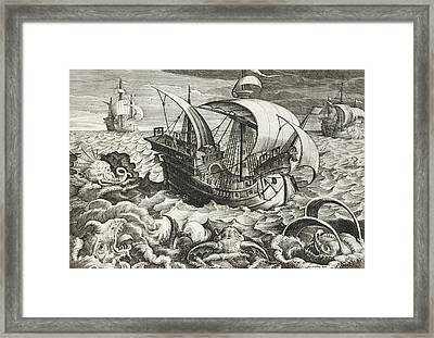 Hunting Sea Creatures Framed Print by Jan Van Der Straet
