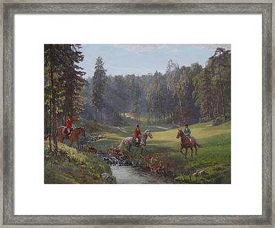 Hunting With Hounds Framed Print by Korobkin Anatoly