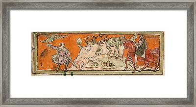 Hunting With The Falcon Framed Print by British Library