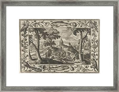 Hunting Wolves, Adriaen Collaert, Eduwart Hoes Winckel Framed Print by Adriaen Collaert And Eduwart Hoes Winckel