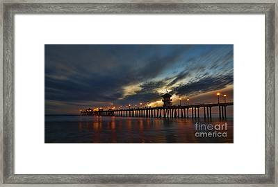 Huntington Beach At Night Framed Print by Peter Dang