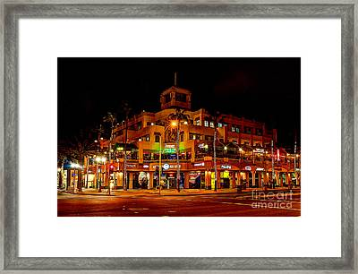 Huntington Beach Downtown Nightside 1 Framed Print by Jim Carrell