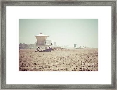 Huntington Beach Lifeguard Tower #1 Retro Photo Framed Print