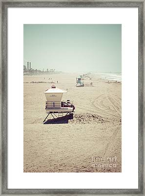 Huntington Beach Lifeguard Tower #1 Vintage Picture Framed Print by Paul Velgos