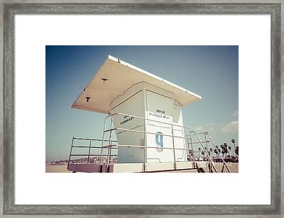 Huntington Beach Lifeguard Tower Retro Photo Framed Print by Paul Velgos