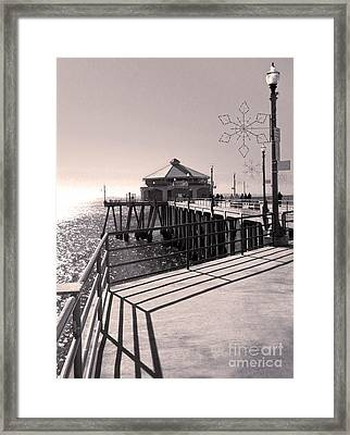 Huntington Beach Pier - Rubys Diner Framed Print by Gregory Dyer