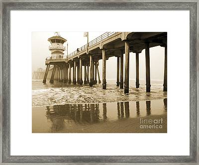 Huntington Beach Pier - Vintage Framed Print
