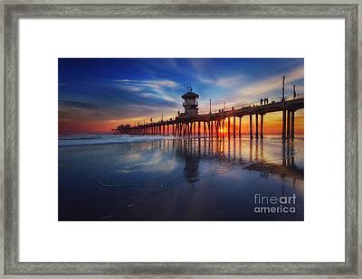 Huntington Beach Pier At Sunset Framed Print