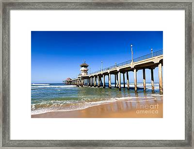 Huntington Beach Pier In Southern California Framed Print by Paul Velgos