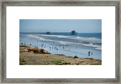 Framed Print featuring the photograph Huntington Beach Pier by Joseph Hollingsworth