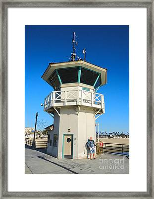 Huntington Beach Pier Lifeguard Tower Framed Print by Gregory Dyer