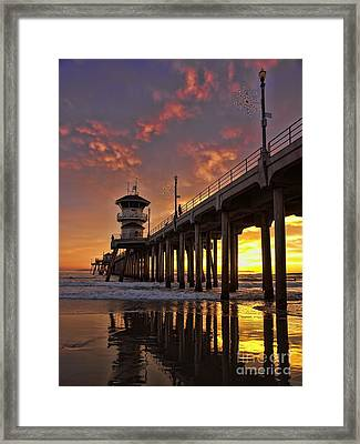 Framed Print featuring the photograph Huntington Beach Pier by Peggy Hughes