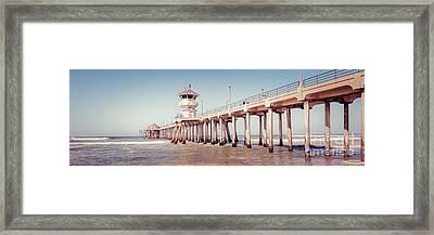 Huntington Beach Pier Retro Panorama Picture Framed Print by Paul Velgos
