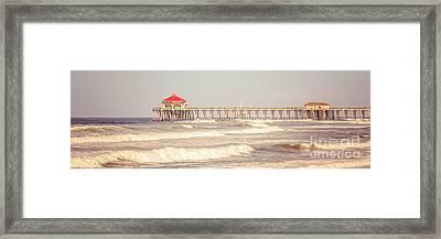 Huntington Beach Pier Retro Panoramic Picture Framed Print