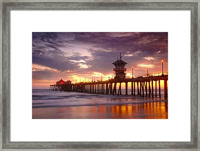 Huntington Beach Pier Sunset Framed Print